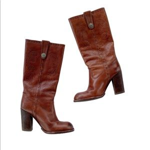 ALDO Shantall Brown Tooled Leather Boots 6 (36)